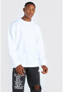 White Oversized Crew Neck Sweatshirt