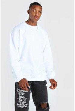 White Oversized Crew Neck Sweatshirt