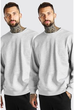 Grey marl 2 Pack Oversized Sweatshirt