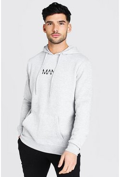 Grey marl Original MAN Over The Head Hoodie