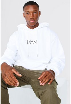 White Oversized Original MAN Hoodie