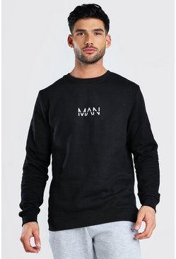 Black Original MAN Crew Neck Fleece Sweatshirt