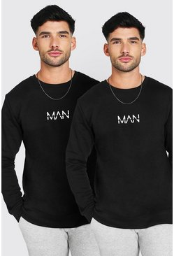 Original MAN Oversized Sweatshirt, 2er-Pack, Schwarz