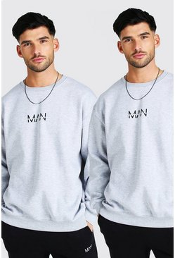 Grey marl 2 Pack Oversized Original MAN Sweatshirt