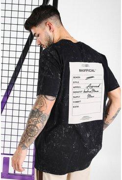Black Oversized Acid Wash Printed T-Shirt