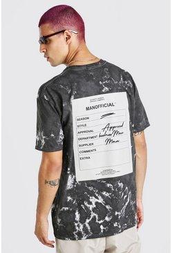 Black Oversized Tie Dye Man Official F&B Print T-Shirt