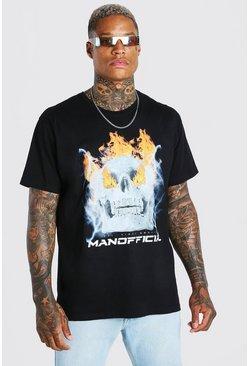 Black Oversized Flame Skull Front & Back Print T-Shirt