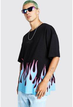 T-shirt imprimé coupe oversize ourlet flammé, Noir