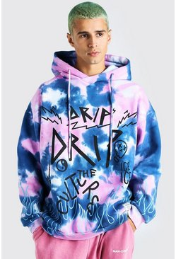 Purple Oversized Tie Dye Graffiti Flame Print Hoodie