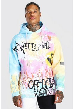 Blue Oversized Tie Dye Graffiti Smile Print Hoodie