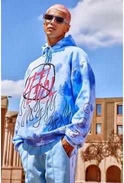 Blue Oversized Tie Dye Graffiti Peace Print Hoodie