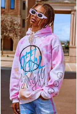 Pink Oversized Tie Dye Graffiti Peace Print Hoodie