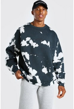 Black Oversized Tie Dye Man Official F&B Print Sweatshirt