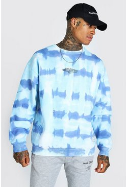 Blue Oversized Tie Dye Man Official F&B Print Sweatshirt