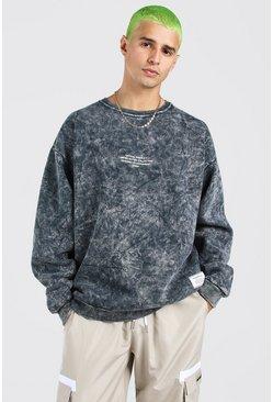 Grey Oversized Acid Wash Man Official Print Sweatshirt