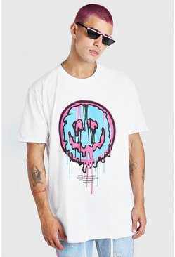 White Oversized Drip Face T-Shirt