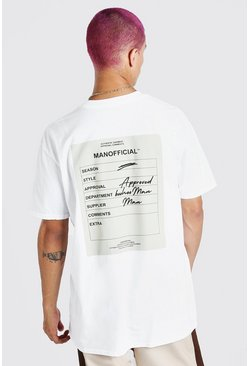 White Oversized Man Official Front & Back Print T-Shirt