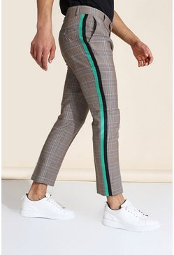 Grey Skinny Crop Check Taped Tailored Trouser