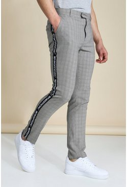 Brown Skinny Check Man Taped Tailored Trouser