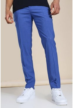 Blue Skinny Pinstripe Tailored Trouser