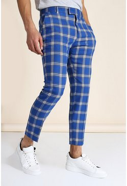Blue Skinny Crop Large Check Tailored Trouser
