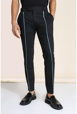 Teal Skinny Neon Piped Tailored Trouser