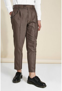 Brown Tapered Herringbone Tailored Chain Trouser