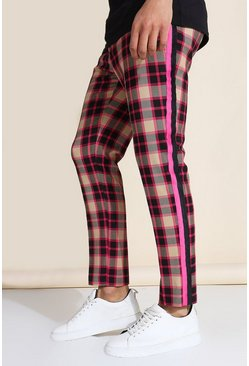 Multi Skinny Crop Check Tape Tailored Trouser
