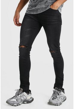 Charcoal Skinny Fit Jean With Knee Rips