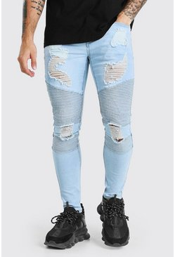 Ice blue Skinny Fit Biker Jean With Abraisons