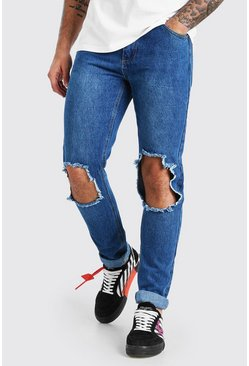 Mid blue Slim Fit Jean With Rips