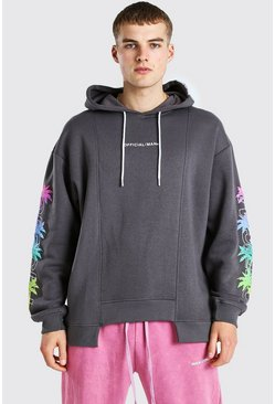 Charcoal Oversized Spliced Hem Palm Sleeve Print Hoodie