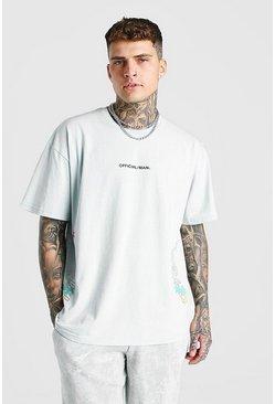 Grey Oversized MAN Ombre Palm Tree Print T-Shirt