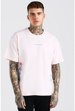 Pink Oversized MAN Ombre Palm Tree Print T-Shirt