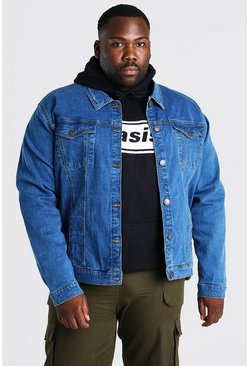 Big And Tall Stretch-Denim-Jacke, Mittelblau