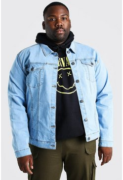 Big And Tall Stretch-Denim-Jacke, Blassblau