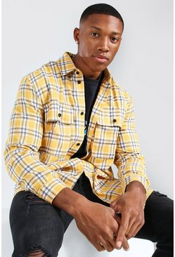 Yellow Long Sleeve Brushed Flannel Overshirt