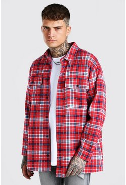 Red Long Sleeve Brushed Check Overshirt