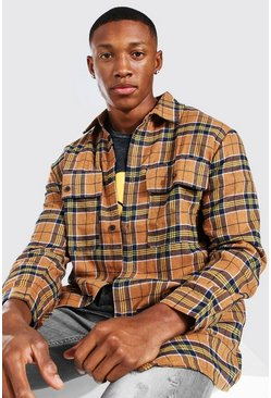Tan Long Sleeve Brushed Check Overshirt