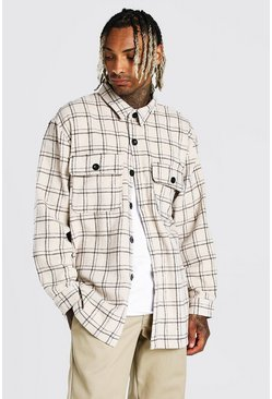 Ecru Long Sleeve Heavy Weight Check Overshirt