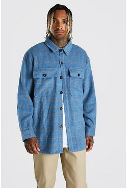 Blue Long Sleeve Heavy Weight Check Overshirt