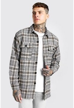Tan Long Sleeve Heavy Weight Check Overshirt