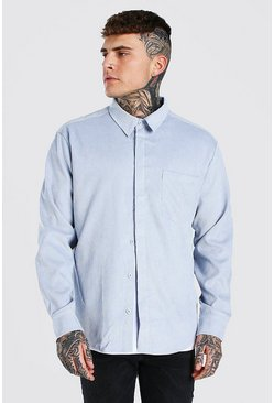 Pale blue Long Sleeve Oversized Corduroy Shirt