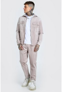Stone Corduroy Utility Shirt And Trouser Set