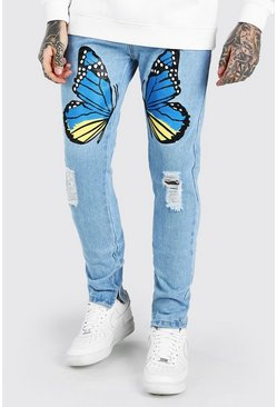 Light blue Skinny Stretch Jeans With Butterfly Print