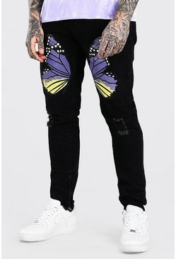 Washed black Skinny Stretch Jeans With Butterfly Print