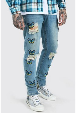 Light blue Skinny Rigid Butterfly Applique Badge Jeans