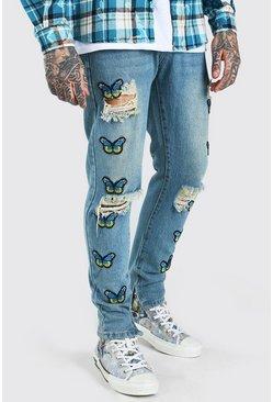 Light blue Skinny Rigid Butterfly Applique Badge Jeans
