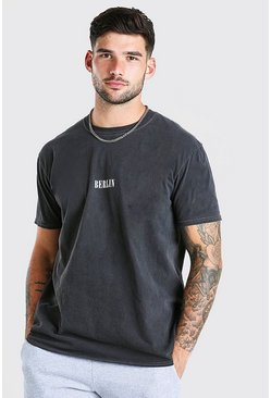 Charcoal Oversized Berlin Print Overdyed T-Shirt