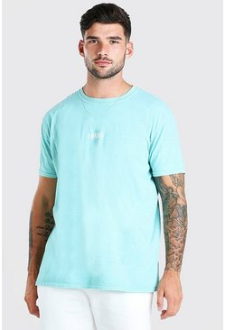 Mint Oversized London Print Overdyed T-Shirt